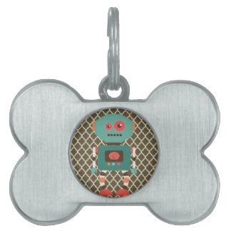 Robot and Moroccan Lattice Pattern Brown & white