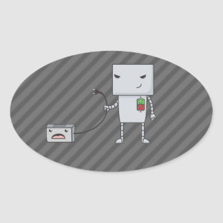 Robot and Toaster Oval Sticker
