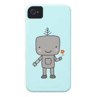 Robot Aqua Blue Cute Robot Sweet Smile with Flower iPhone 4 Cover