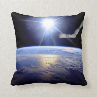 Robot Arm Over Earth with Sunburst Throw Pillows