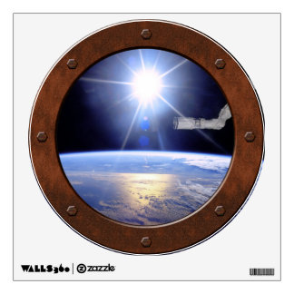 Robot Arm Over Earth with Sunburst Porthole Wall Decals