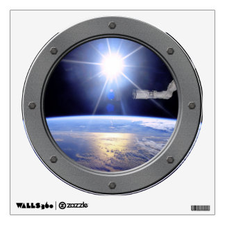 Robot Arm Over Earth with Sunburst Porthole Wall Graphics