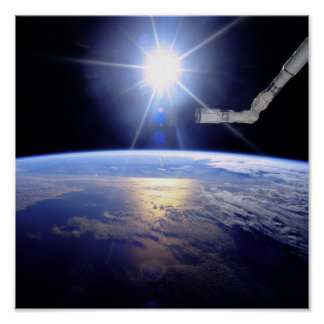 Robot Arm Over Earth with Sunburst Poster