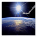 Robot Arm Over Earth with Sunburst Posters