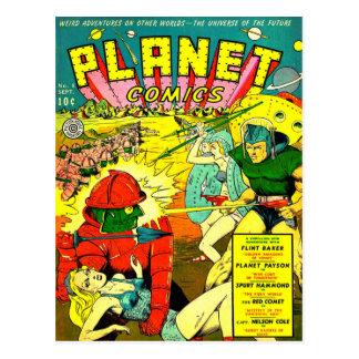 Robot Army Space Invasion Postcard