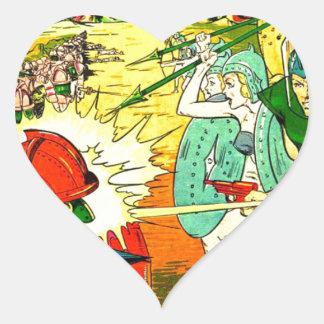 Robot Army Space Invasion Heart Sticker