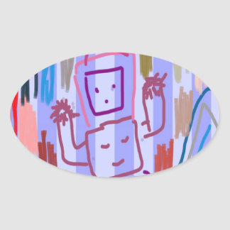 ROBOT ART by KIDS Oval Sticker