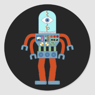 Robot asustadizo del globo del ojo etiqueta redonda