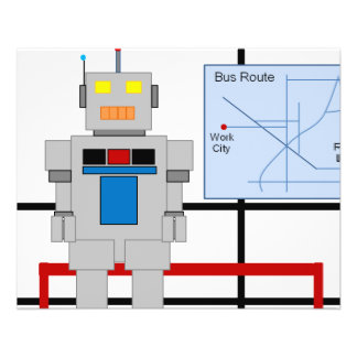 Robot At A Bus Stop Flyer