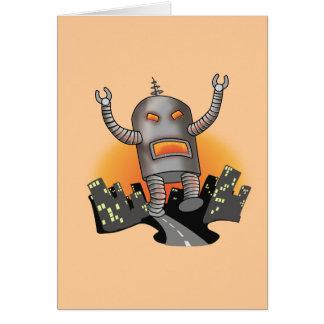 Robot Attack Greeting Card