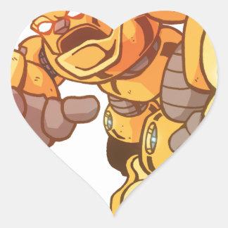 Robot Attack Heart Sticker