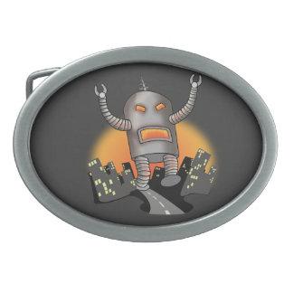 Robot Attack Oval Belt Buckle