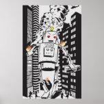 Robot Attack Vintage Poster