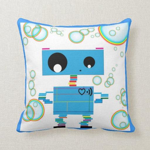 Robot azul cojín decorativo