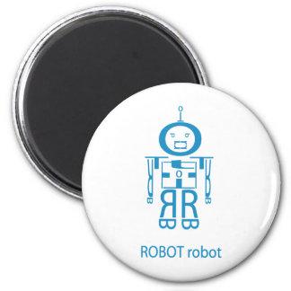 Robot azul enojado imán redondo 5 cm