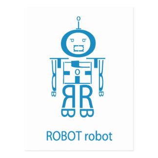 Robot azul enojado tarjeta postal