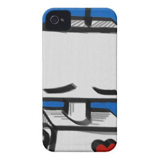 Robot azul intrépido de Blackberry iPhone 4 Case-Mate Cárcasas