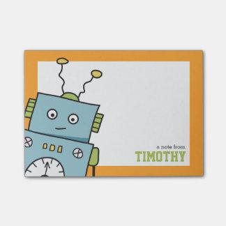 Robot azul lindo con nombre personalizado nota post-it®