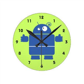 Robot azul lindo relojes de pared