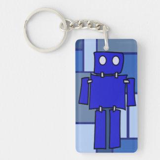 Robot azul llavero rectangular acrílico a una cara