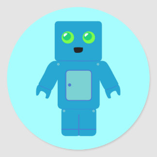 Robot azul etiqueta redonda