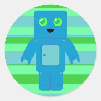 Robot azul pegatinas redondas