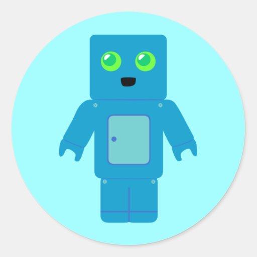 Robot azul pegatina redonda