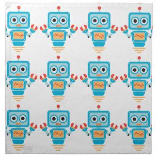 Robot azul, rojo, y amarillo futurista del dibujo servilletas imprimidas