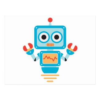 Robot azul, rojo, y amarillo futurista del dibujo postales