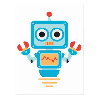 Robot azul, rojo, y amarillo futurista del dibujo tarjetas postales
