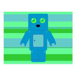 Robot azul tarjeta postal