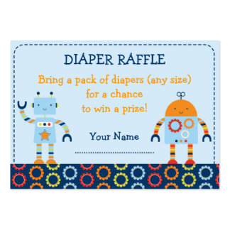 Robot Baby Bots Diaper Raffle Tickets Large Business Card