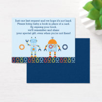 Robot Baby Shower Book Request Cards