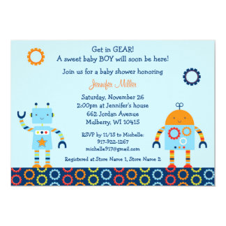 "Robot Baby Shower Invitation Baby Bots 5"" X 7"" Invitation Card"