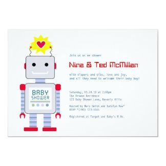 Robot Baby Shower Invitations, 5x7 5x7 Paper Invitation Card