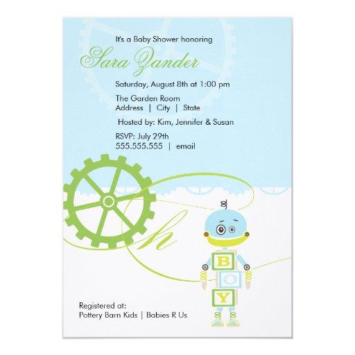 robot baby shower invitations boy zazzle