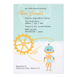 Robot Baby Shower Invitations Boy