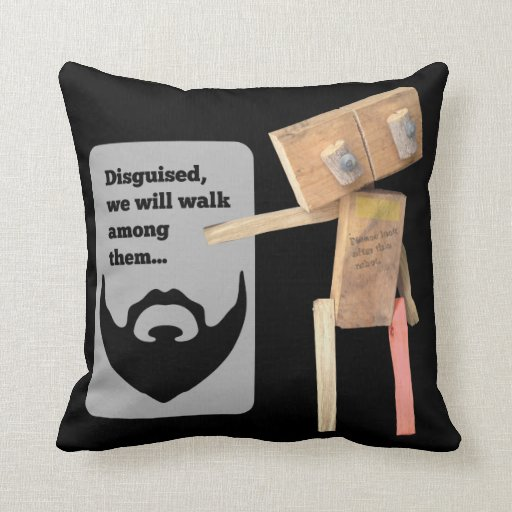 Robot beard disguise plan pillow