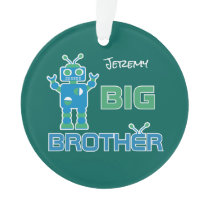 Robot Big Brother Boys Personalized Kids Sibling Ornament
