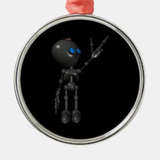 Robot Bionic del muchacho 3D - dedo dispara contra Adorno Navideño Redondo De Metal