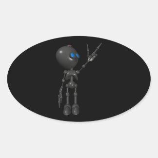 Robot Bionic del muchacho 3D - dedo dispara contra Pegatinas De Óval
