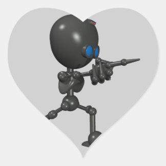 Robot Bionic del muchacho 3D - dedo dispara contra Pegatina De Corazon Personalizadas
