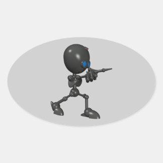 Robot Bionic del muchacho 3D - dedo dispara contra Calcomanía Ovaladas Personalizadas