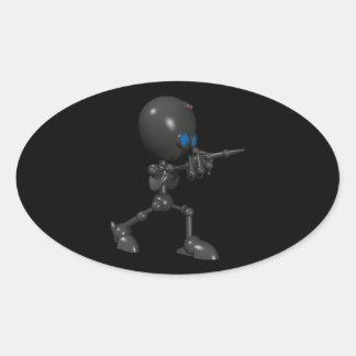 Robot Bionic del muchacho 3D - dedo dispara contra Calcomania Oval Personalizadas