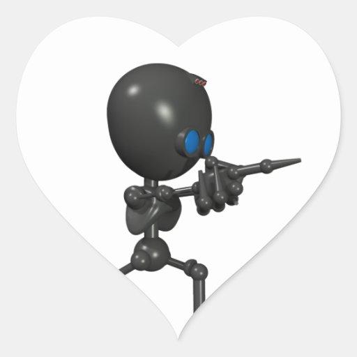 Robot Bionic del muchacho 3D - dedo dispara contra Pegatina En Forma De Corazón