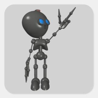 Robot Bionic del muchacho 3D - dedo dispara contra Pegatina Cuadradas Personalizadas