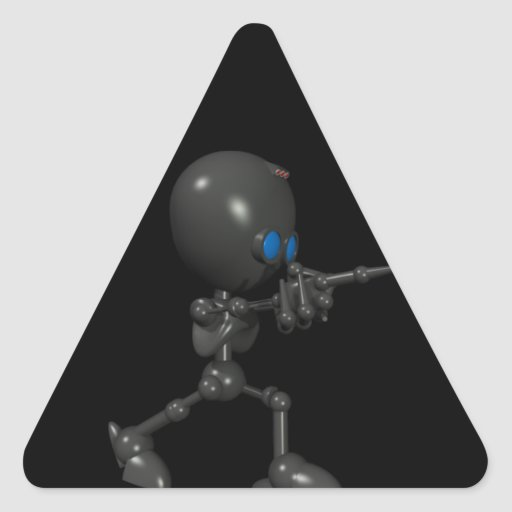 Robot Bionic del muchacho 3D - dedo dispara contra Pegatina Triangular