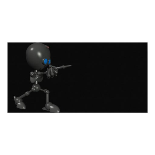 Robot Bionic del muchacho 3D - dedo dispara contra Tarjeta Fotográfica Personalizada