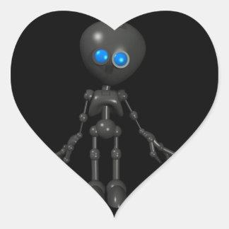 Robot Bionic del muchacho 3D - mirando adelante Pegatina Corazon Personalizadas
