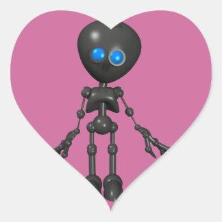 Robot Bionic del muchacho 3D - mirando adelante Calcomanías Corazones Personalizadas